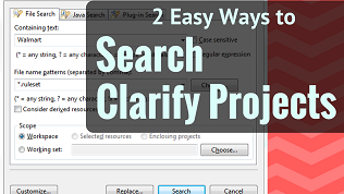 Youtube video of 2 Different ways to search Cleo Clarify projects, packages, objects within Eclipse Studio