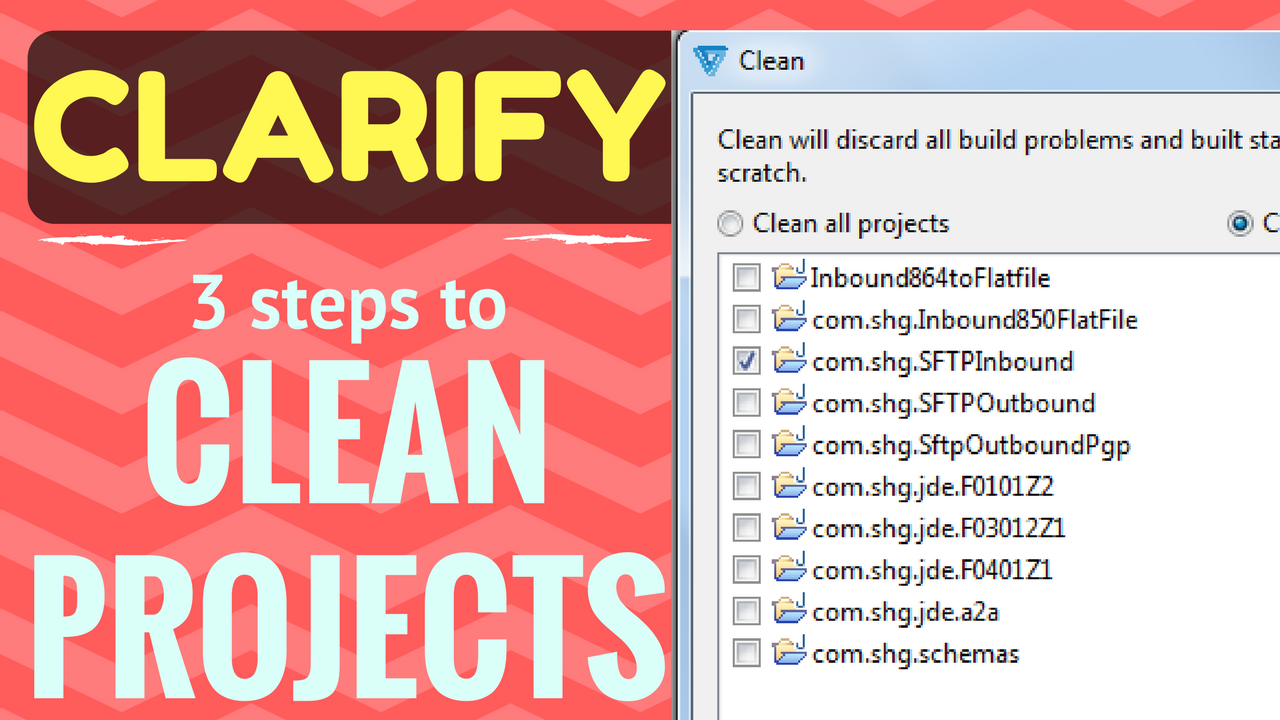 Cleaning Cleo Clarify Eclipse Workspace Projects, Packages, Objects Youtube video